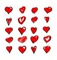 set red hearts vector image vector image