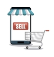 smartphone shopping e-commerce isolated vector image