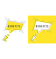 speaker and tag benefits vector image vector image