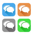 speech bubbles set of colored square icons vector image vector image