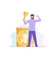 successful work a man is standing with a champion vector image vector image