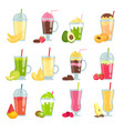 summer drinks smoothie various pictures of fruit vector image vector image