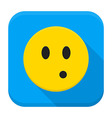 Surprised Yellow Smiley App Icon vector image vector image