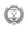 vintage hockey icon in the old style vector image vector image