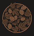 vintage round hop pattern design for beer theme vector image vector image
