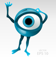 Warning anxious blue eyeball character vector image