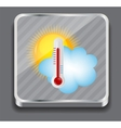 Weather Icons with sun cloud and thermometer vector image