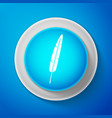 white feather pen icon isolated on blue background vector image