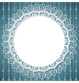 White lace doily on blue background vector image vector image