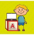 boy laptop cube icon vector image