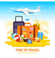 travel luggagetravel to world flat design vector image
