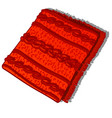 a fragment of a patterned red knitted woolen vector image vector image