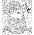 adult coloring bookpage a cute snowman wearing a vector image
