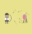 african blindfold businessman loser shooting arrow vector image