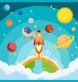 astronaut riding a rocket and smoke through cloud vector image vector image