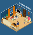 baby sitter isometric composition vector image