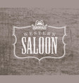 banner for western saloon with cowboy hat vector image vector image