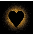 Black heart on the golden glittering background vector image vector image