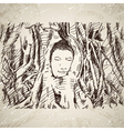 Buddha head in tree roots in Ayutthaya vector image vector image