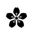 cherry blossoms black glyph icon vector image