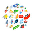 computer security icons set isometric style vector image vector image