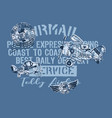 cute teddy bear airmail company vector image