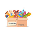 donation toy box cardboard containers with social vector image vector image