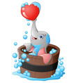 elephant playing a heart in the bathtub vector image vector image