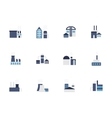 Factory blue flat style icons set vector image vector image
