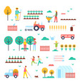 farm workers special machines and green plants vector image