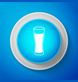 glass of beer icon isolated on blue background vector image vector image