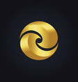 gold circle round colored logo vector image vector image