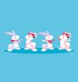 group cute rabbits animals vector image vector image