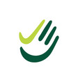 hand palm check high five finger green logo icon vector image