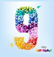 happy birthday card nine years vector image vector image
