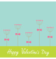 Happy Valentines Day Love card Heart stick flower vector image vector image