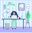 happy woman working with computer during vector image