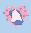 head cute unicorn of fairy tale with heart vector image vector image