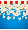 Heap popcorn for movie lies on blue background vector image vector image