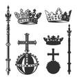 heraldic symbols monarch set vector image vector image