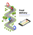 isometric bicycle courier express delivery vector image
