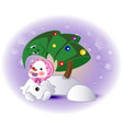 little snowman and christmas tree eps10 vector image vector image