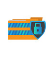 lockpad protecting a data folder cyber security vector image
