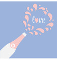 Love card Champagne bottle heart explosion Flat vector image