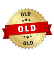 old 3d gold badge with red ribbon vector image vector image
