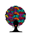 portrait african woman wears afro fashion turban vector image