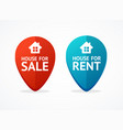 realistic 3d detailed sale and rent geo tag set vector image