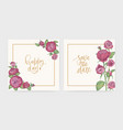 set elegant square wedding invitation and save vector image vector image