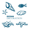 set ocean decoration vector image vector image