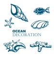 Set of ocean decoration vector image vector image